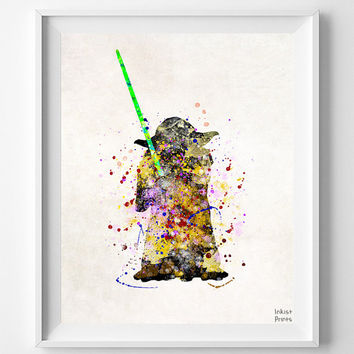 Yoda Print, Yoda Poster, Star Wars Poster, Yoda Art, Star Wars Gift, Nursery Decor, Giclee, Star Wars Art, Boy Gift, Type 2, Christmas Gift