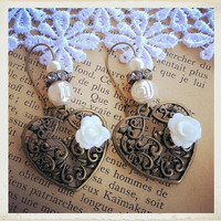 Love Earrings Hearth and the White Rose  by BitsofRainbow on Etsy