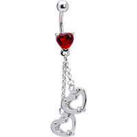 Red Gem Locking Handcuff Heart Belly Ring | Body Candy Body Jewelry