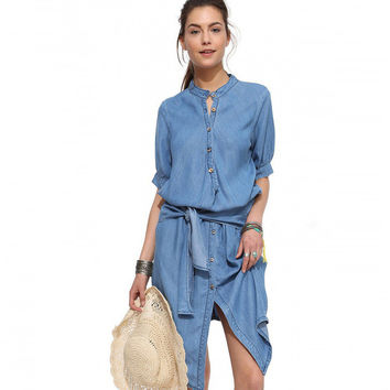 Light Blue High Waist Lace Collar Denim Dress