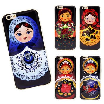 For iphone 5 5s SE 6 6s 6plus Case IMD Durable Matryoshka Russian Dolls Flower Fruit Wood Pattern Soft TPU phone case
