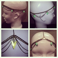 Valerie. Beautiful Golden arrowhead, double chain turquoise head piece