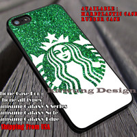 Green Glitter Coffee Logo | Starbucks | Ariel Mermaid | case/cover for iPhone 4/4s/5/5c/6/6+/6s/6s+ Samsung Galaxy S4/S5/S6/Edge/Edge+ NOTE 3/4/5 #cartoon #disney #animated #theLittleMermaid ii