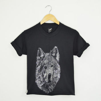 Vintage 90s Sparkly Glitter WOLF Crop Top Shirt Black Silver Animal Wilderness Cotton Cut Off Size Womens XSmall Small