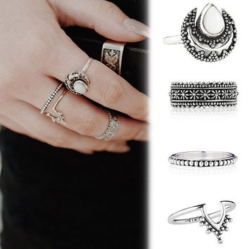 4Pcs Vintage Style Ring
