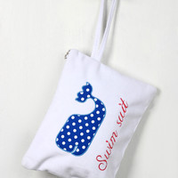 Polka Dot Whale Swimsuit Mini Bag