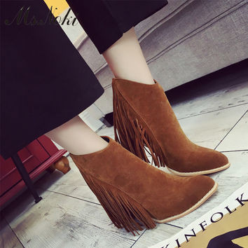 new womens brown black tassel ankle boots autumn pointed toe high heel schuhe fashion lady flock square heel boots sex zip shoes