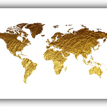 World map Printable File, World map Gold Foil Texture Modern Wall Art Home Office Decor World map Instant Download *49*