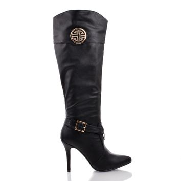 Momentum89 Black By Anne Michelle, Rhinestone Studded Emblem Pointed Toe Stiletto Zip Up Bootie