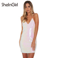 SheInGirl Sexy Sequin Dress Women 2017 Summer White slip dress Beach Mini Bodycon Dress Party Club Vestidos Female