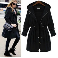 FASHION LOOSE HOODED COAT