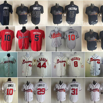 Atlanta Braves Throwback 3 Dale Murphy Baseball Jerseys Game 10 Chipper Jones 29 John Smoltz 44 Hank Aaron 31 Greg Maddux 22 Nick Markakis