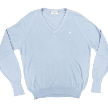 Light Blue Christian Dior V Neck Sweater - Baby Blue Sky Blue Vneck Jumper - Ivy League Menswear Gifts for Him - Men's Size Large