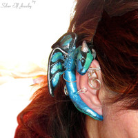 Blue Dragon ear cuff, no piercing earrings, LOTR ear cuff, GOT Earrings, Fantasy Earrings, wire ear cuff, dragon ear wrap, Cosplay jewelry