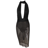 Sassy Bartender Sheer Black Stripe Dress
