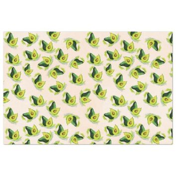 "Green Avocados Watercolor Pattern 20"" X 30"" Tissue Paper"