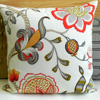 Both sides, Coral pink, green and gray floral decorative pillow cover
