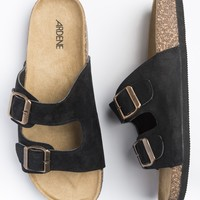 Black double strap suede sandals with cork footbed