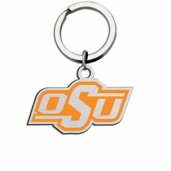 Oklahoma State Cowboys Large Size Stainless Steel Key Ring with Color. Collegiate Key Rings