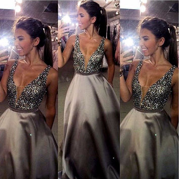 Bling Crystal Beaded Bodice Sexy Long Prom Dresses 2016 Sleeveless Deep V Neck Plunging Back Long Party Evening Dresses A-line