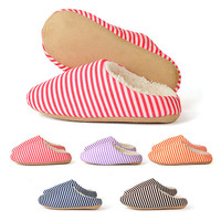 Winter Warm Antiskid Slippers Soft Plush Indoor Women Home Stripes Shoes