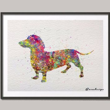 Dachshund dog Original watercolor canvas painting wall art Dog poster print Pictures Living room Home Decor wall hanging sticker