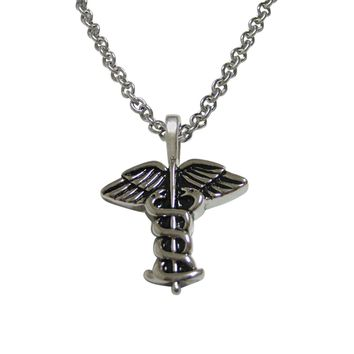 Black and Silver Toned Caduceus Medical Symbol Pendant Necklace