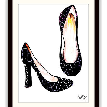 Chanel shoes art, watercolor painting, Printable vanity Wall decor, decal  decals, print, girl, fashion heels shoe, louis vuitton decoration