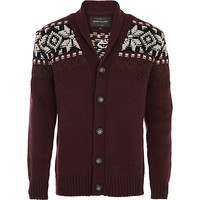 River Island MensDark red patterned shoulder cardigan
