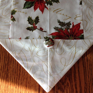 Christmas table runner, sz M, gold red and green, poinsettia and birds, Christmas decor, coffee table scarf, home decor, table decoration