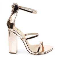ilyse19 Rose Gold by Liliana, Rose Gold trio 3 strap gladiator open toe sandals on chunky block high heel