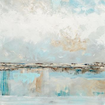 ORIGINAL Art Abstract Painting Textured Light Blue White Grey Beige Coastal Landscape Home Wall Art 30x40""