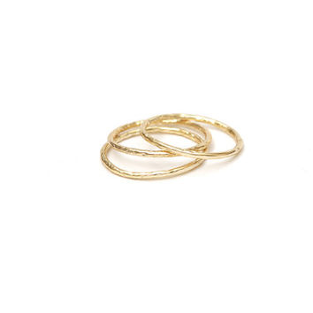 Set of 3 hammered rings, Stack rings, Stacking rings, Simple gold ring, Stacking gold ring