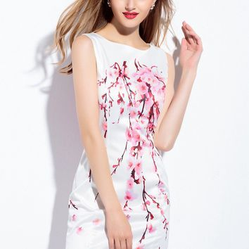 Fitted Cherry Blossom Print Dress