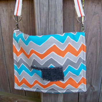 Boho Bag, Hipster, Canvas Chevron Messenger Bag, State Applique,Cross Body Bag,Shoulder Bag,iPad Bag,Travel Bag,Work Bag, Aztec,Tribal Bag
