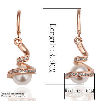 Best Friends jewerly 18K Gold Plated Earing spiral beads drop earrings brincos SMTPE 11 MP