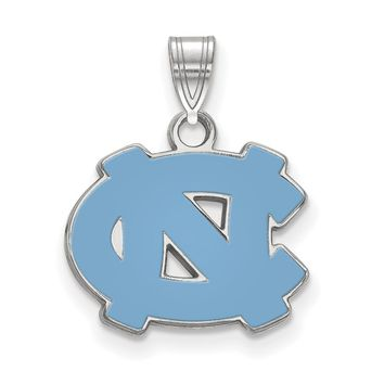 NCAA Sterling Silver North Carolina Small Enamel Pendant Necklace