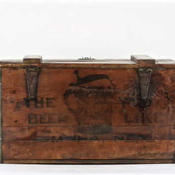 Beer Crate, Krug Beer Crate Omaha Nebraska, Vintage Wood Beer Crate, 1908 Beer Crate, Pre-Prohibition Beer Crate, XXL Beer Crate