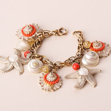Vintage Seashell and Starfish Bracelet