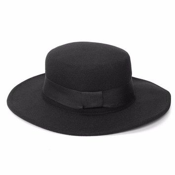 Boater Hat Sailor Wide Brim Fedora Felt Trilby Cap