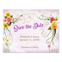 Vintage Rustic Floral Buds | Save the Date Card