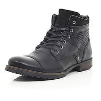 River Island MensBlack leather military boots