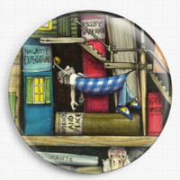 Needle Minder, Licensed Art, Colin Thompson, Bookshelf, Cross Stitch Keeper, Fridge Magnet 3, BOOKS, Reading