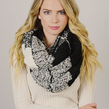 Mohair Checkered Infinity Scarf
