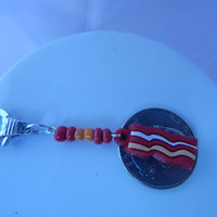 Bacon Clip for backpacks, purse, zipper, collar charm or sneaker - breakfast - stocking stuffer, easter basket, party favor, pet, school