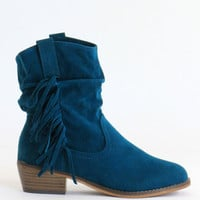 Emerald Suede Fringe Boots
