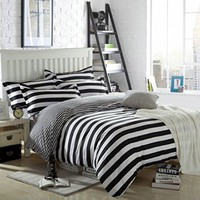 Ttmall Twin Full Queen Size Cotton 4-pieces Black White Stripes Prints Duvet Cover Sets (Queen, 4pcs Without Comforter)