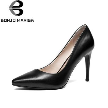BONJOMARISA Women's Patent Leather Party Wedding Shoes Woman Sexy Pointed Toe High Heels Less Pumps Size 34-39