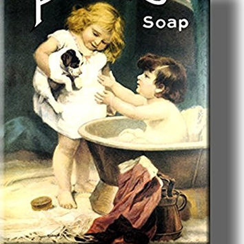 Pears Soap Vintage Bathroom Picture on Stretched Canvas, Wall Art Decor, Ready to Hang!