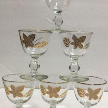 Vintage Beautiful Cordial Sherry Port Set of 6 Glasses w/ Gold Leaf & Gold Rim